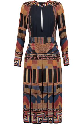 ETRO Open-back pleated printed silk dress