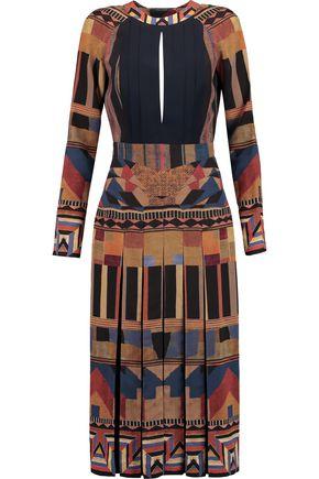 ETRO Open-back pleated printed silk dress