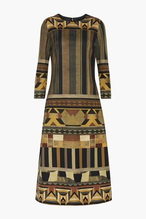 ETRO Printed wool-blend twill midi dress