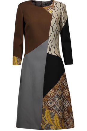 ETRO Patchwork wool-crepe and jacquard dress