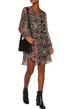 CHELSEA FLOWER Printed crepe de chine mini dress