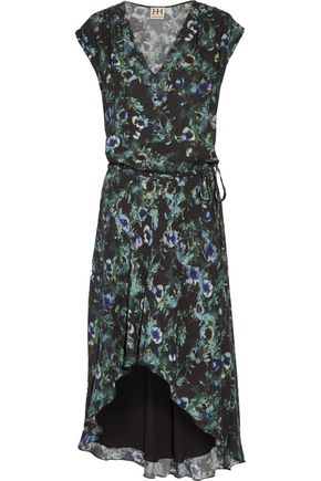 HAUTE HIPPIE Asymmetric ruffled floral-print crepe de chine dress