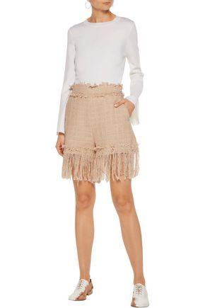 MSGM Fringed cotton-blend tweed shorts