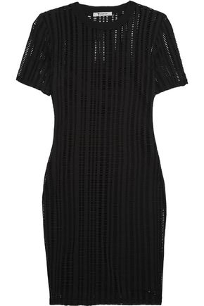 T by ALEXANDER WANG Open-knit cotton-blend mini dress