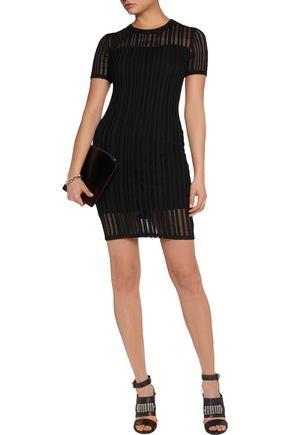 T by ALEXANDER WANG Open-knit cotton-blend mini dress