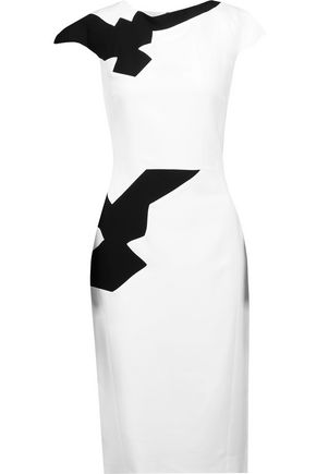 ANTONIO BERARDI Two-tone draped crepe dress