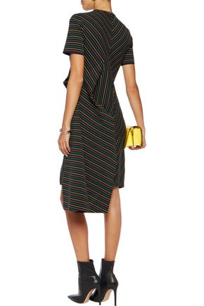 J.W.ANDERSON Asymmetric draped striped cotton dress
