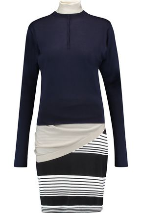 J.W.ANDERSON Layered striped merino wool turtleneck mini dress