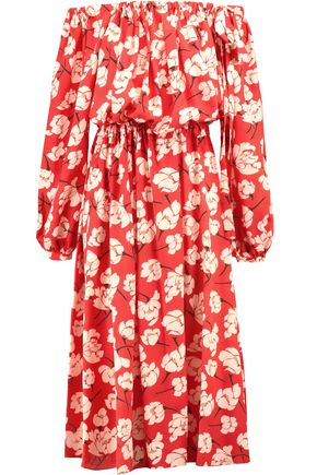 ROCHAS Off-the-shoulder floral-print silk-chiffon midi dress