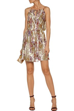 JUST CAVALLI Draped wrap-effect printed stretch-jersey mini dress