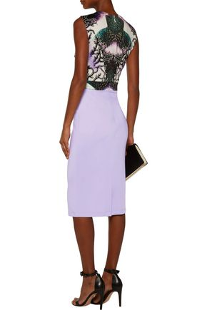 JUST CAVALLI Cutout printed stretch-satin jersey dress