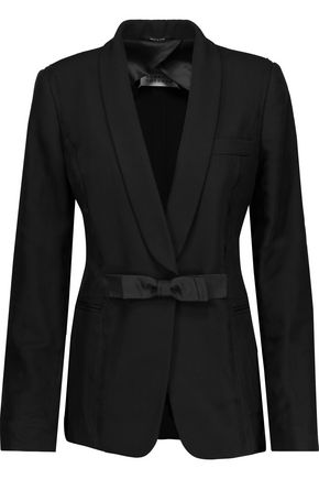 MAISON MARGIELA Silk chiffon-trimmed embellished wool-canvas blazer