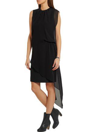 MAISON MARGIELA Light Enver chiffon-paneled washed-satin dress