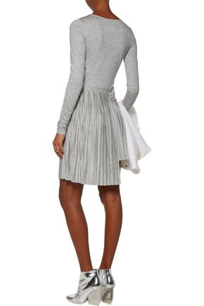MM6 by MAISON MARGIELA Pleated asymmetric stretch-jersey mini dress