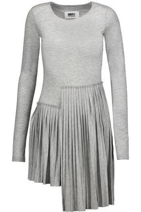 MM6 by MAISON MARGIELA Pleated asymmetric stretch-jersey mini dress