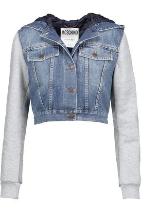MOSCHINO Cropped stretch-cotton jersey and denim hooded jacket
