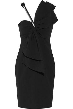 MOSCHINO Asymmetric bow-embellished crepe mini dress