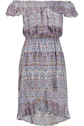 L'AGENCE Leonie off-the-shoulder printed silk-chiffon dress