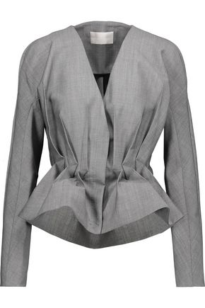 ANTONIO BERARDI Pleated wool and mohair-blend peplum jacket