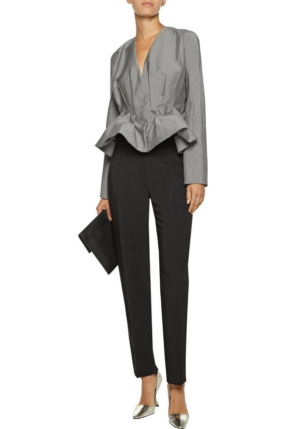 Pleated wool and mohair-blend peplum jacket | ANTONIO BERARDI | Sale up to  70% off | THE OUTNET