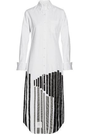THOM BROWNE Silk-trimmed embellished cotton midi dress
