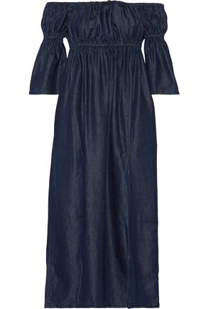 GOEN.J Off-the-shoulder gathered denim midi dress