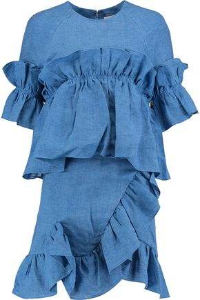 GOEN.J Ruffled linen mini dress