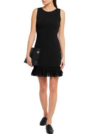 THEORY Torylevina ruffled mesh-trimmed jersey mini dress