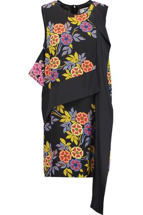 MSGM Floral-print silk-crepe mini dress
