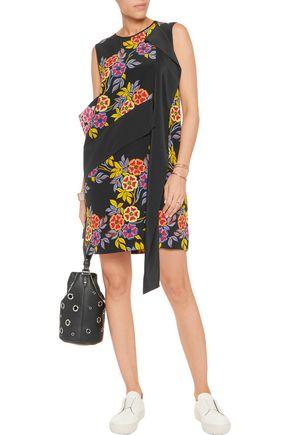 MSGM Floral-print silk-crepe mini dress