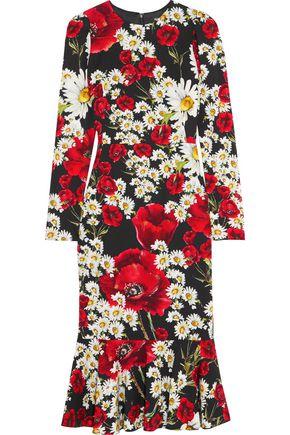DOLCE & GABBANA Floral-print silk-blend crepe de chine dress