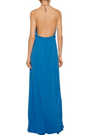 EMILIO PUCCI Chain-trimmed pleated stretch-jersey gown