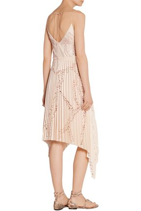 EMILIO PUCCI Laser-cut pleated crepe midi dress