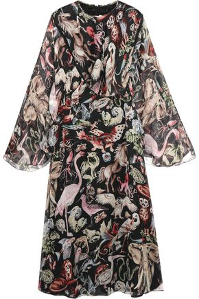 VALENTINO Printed silk-georgette midi dress