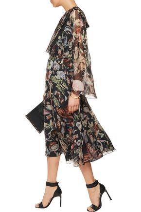 VALENTINO Printed silk-georgette midi dress