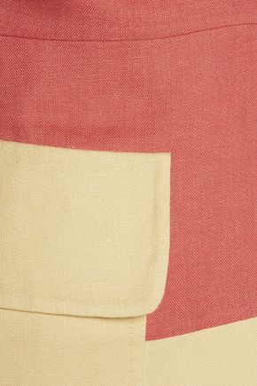 VALENTINO Two-tone linen mini dress