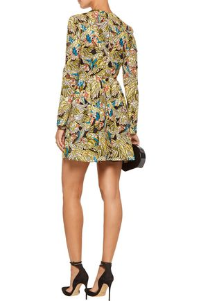 VALENTINO Printed corded cotton-blend mini dress