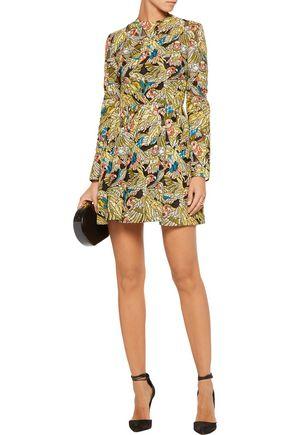 VALENTINO Printed corded cotton-blend mini dress