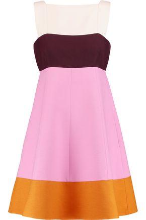 VALENTINO Color-block wool and silk-blend mini dress