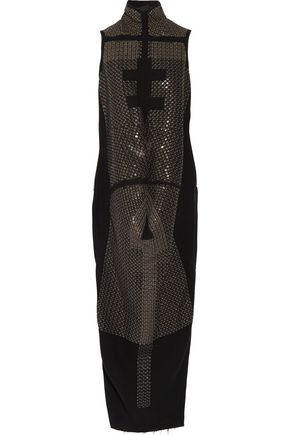RICK OWENS Seahorse draped sequined wool-blend dress