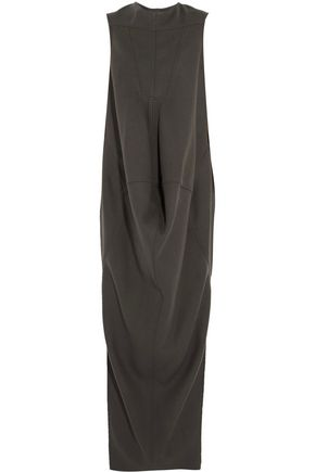 RICK OWENS Draped wool-blend fleece maxi dress