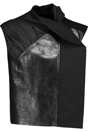 RICK OWENS Ruched shell, crinkled-leather and wool-blend vest