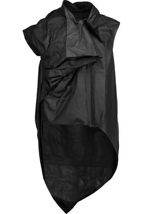 RICK OWENS Asymmetric gathered leather vest