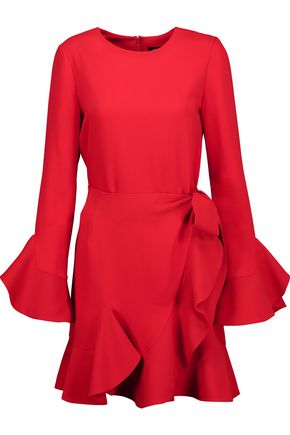 GOEN.J Wrap-effect ruffled crepe mini dress