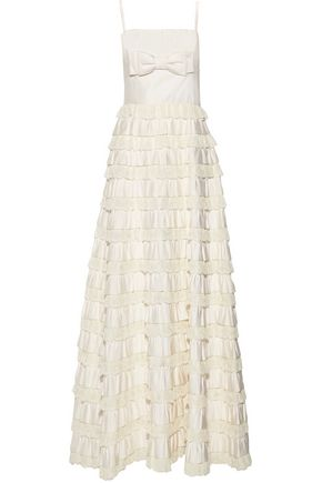 VALENTINO Ruffled silk-satin and lace gown