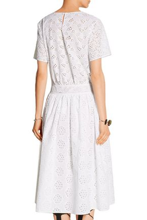 VALENTINO Cotton-blend broderie anglaise midi dress
