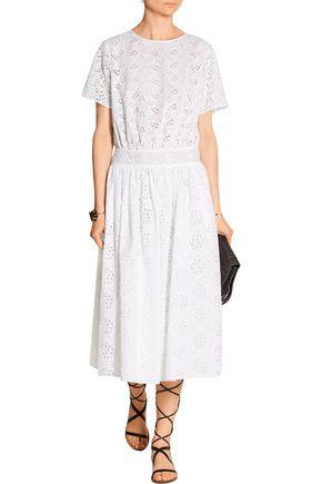 VALENTINO Cotton-blend broderie anglaise midi dress