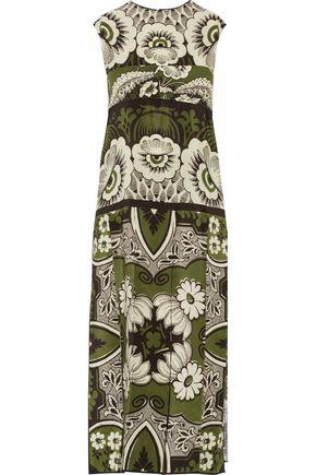 VALENTINO Pleated printed silk midi dress