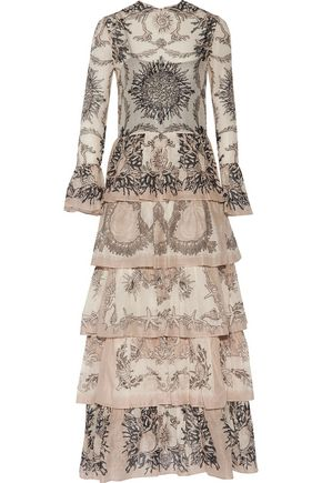 VALENTINO Tiered printed cotton-broadcloth gown