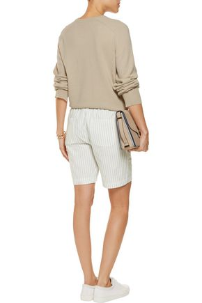 TOTÊME Kruger striped cotton and linen-blend shorts